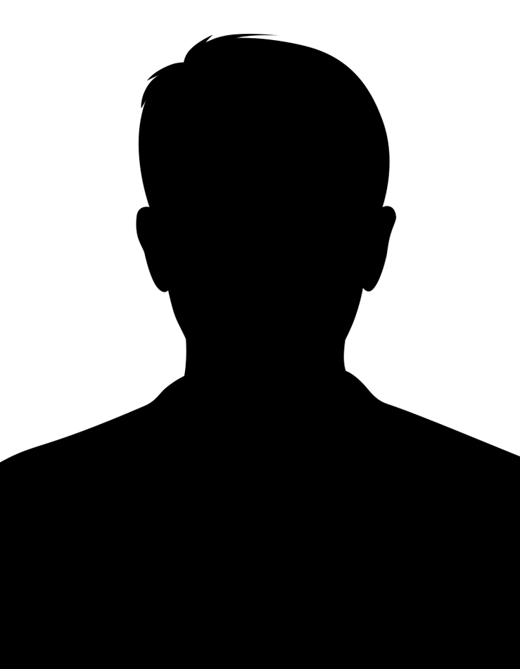 black silhouette of guy with short hair